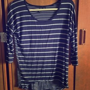 A navy blue stripped 3/4 sleeve top